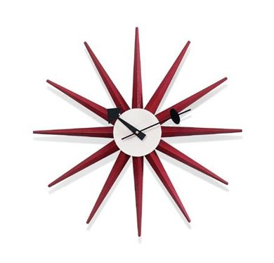 Sunburst-Clock-red
